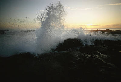 Natural Forces Photograph - Sunlight Shines Through A Crashing Wave by Phil Schermeister