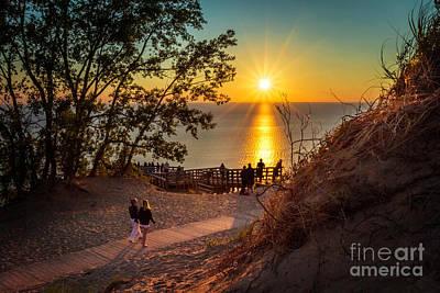 Photograph - Sunlight Stroll Lake Michigan Sand Dunes by Karen Jorstad