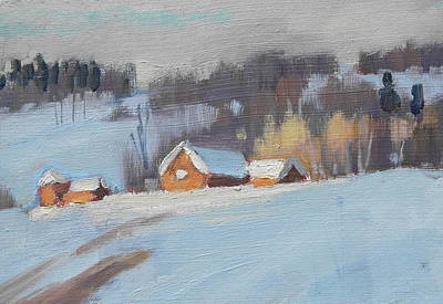 Red Barn In Winter Painting - Sunlight Study by Len Stomski