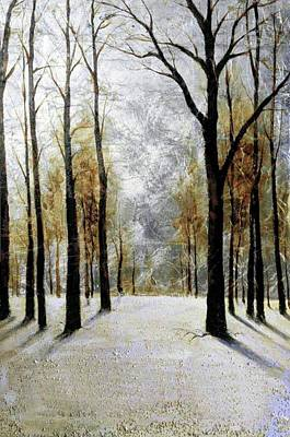 Painting - Sunlight Through Winter Trees by Troy Caperton
