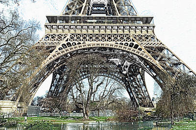 Digital Art - Sunlit Base And First Floor The Eiffel Tower In Early Springtime Paris France Colored Pencil Digital by Shawn O'Brien