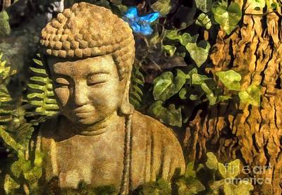 Digital Art - Sunlit Buddha 2015 by Kathryn Strick