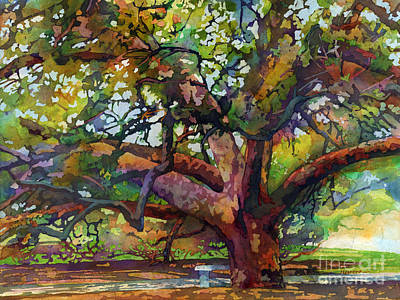 Stanford Painting - Sunlit Century Tree by Hailey E Herrera