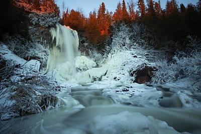 Sunlit Edge Of The Moraine Falls Art Print by Jakub Sisak