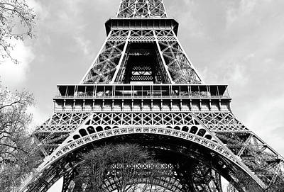 Photograph - Sunlit Eiffel Tower First And Second Floors Paris France Black And White by Shawn O'Brien