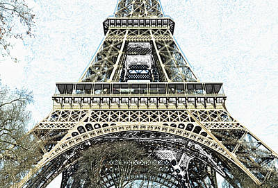 Digital Art - Sunlit Eiffel Tower First And Second Floors Paris France Colored Pencil Digital Art by Shawn O'Brien