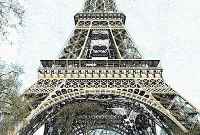 Digital Art - Sunlit Eiffel Tower First And Second Floors Paris France Colored Pencil Digital Art by Shawn O'Brien