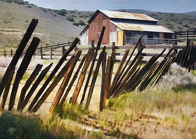 Digital Art - Sunlit Fence by Sharon Foster