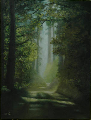 Painting - Sunlit Forest Path by Rick Fitzsimons