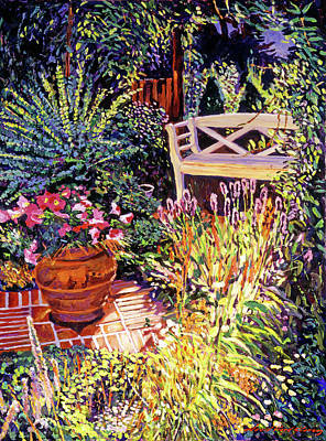 Decorative Benches Painting - Sunlit Garden Patio by David Lloyd Glover
