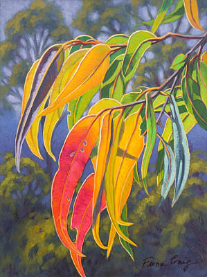 Australian Native Painting - Sunlit Gumleaves 10 by Fiona Craig