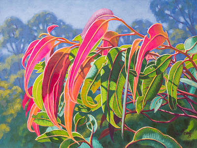 Australian Native Painting - Sunlit Gumleaves 12 by Fiona Craig