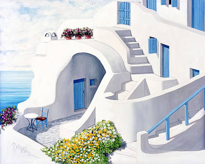 Chimney Painting - Sunlit In Santorini - Prints Of Original Oil Painting by Mary Grden's Baywood Gallery