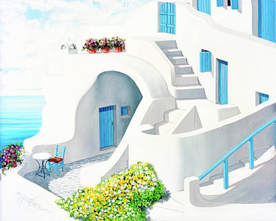 Rooftop Painting - Sunlit In Santorini - Prints Of My Original Oil Painting by Mary Grden Fine Art Oil Painter Baywood Gallery