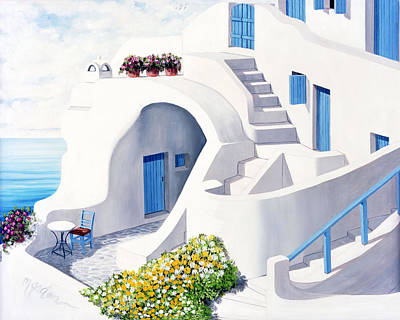Rooftop Painting - Sunlit In Santorini - Prints Of Original Oil Painting by Mary Grden Fine Art Oil Painter Baywood Gallery