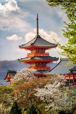 Photograph - Sunlit Koyasu Pagoda At Kiyomizudera by Karen Jorstad