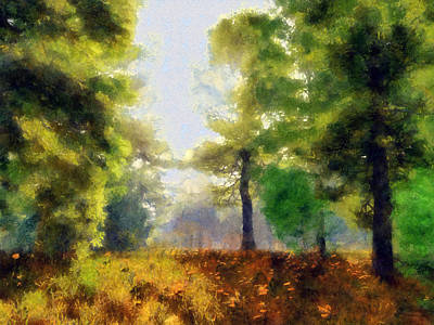 Clearing Digital Art - Sunlit Meadow Painted by Cynthia Decker