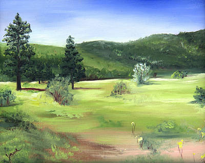 Painting - Sunlit Mountain Meadow by Nila Jane Autry