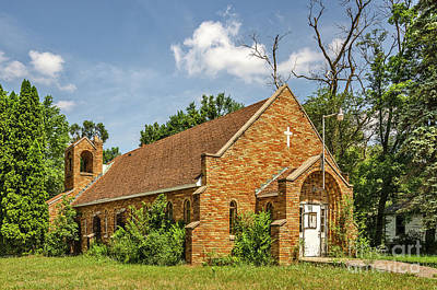 Photograph - Sunlit Orange Brick Church Needing A Bit Of Work  by Sue Smith