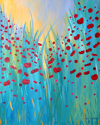 Sunlit Poppies Art Print