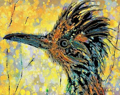 Mixed Media - Sunlit Roadrunner by Barbara Chichester
