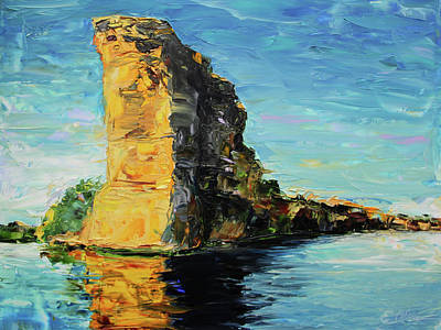 Painting - Sunlit Rock Face by Emily Olson