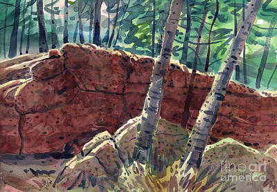 Maine Painting - Sunlit Rock In Acadia by Donald Maier