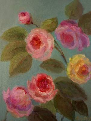Painting - Sunlit Roses by Mary Wolf