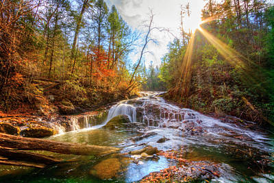 Photograph - Sunlit Silky Cascades by Debra and Dave Vanderlaan