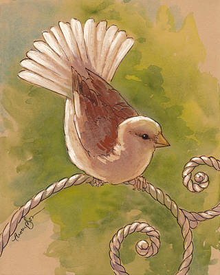 Sparrow Mixed Media - Sunlit Sparrow by Tracie Thompson