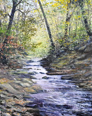 Fall Trees With Stream Painting - Sunlit Stream by Penny Neimiller