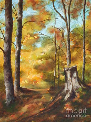 Painting - Sunlit Tree Trunk by Claire Gagnon