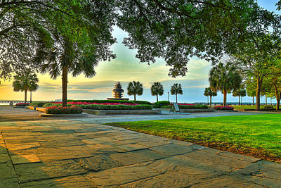 Photograph - Sunlit Walkway At Waterfront Park - Charleston Sc by Donnie Whitaker