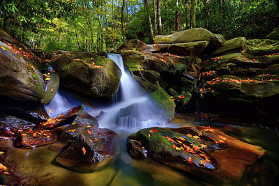 Photograph - Sunlit Waterfall At Great Smoky Mountains National Park by Justin Kelefas