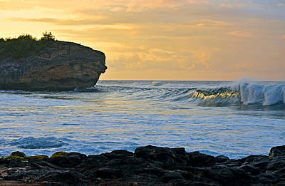 Photograph - Sunlit Waves - Kauai Dawn by Marie Hicks