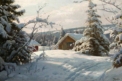 Painting - Sunlit Winter Landscape by Peder Monsted