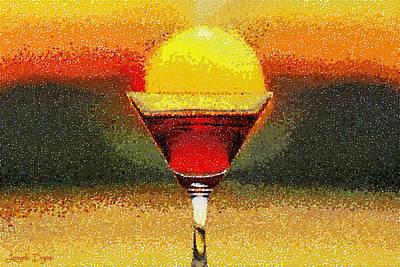 Martini Digital Art - Sunned Wine - DA by Leonardo Digenio