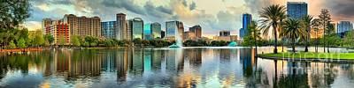 Photograph - Sunning Orlando Skyline Reflections by Adam Jewell