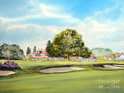 Sports Paintings - Sunningdale Golf Course 18th Green by Bill Holkham