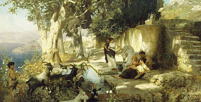 Unicorn Art Painting - Sunny Afternoon At The Well by Henryk Siemiradzki