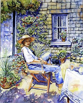 Painting -  Sunny Afternoon With Black Cat by Trudi Doyle