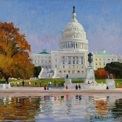 Capitol Building Painting - Sunny Autumn Day by Roelof Rossouw