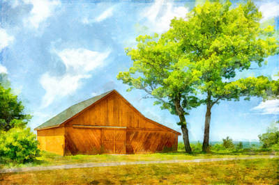 Photograph - Sunny Barn And Trees by Betty Denise