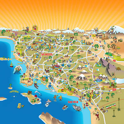 Sunny Cartoon Map Of Southern California Art Print by Dave  Stephens