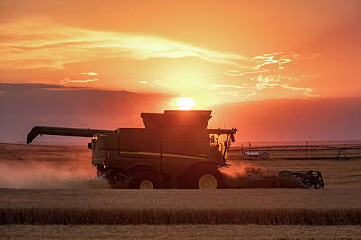 Wheat Silhouette Photograph - Sunny Combine by Todd Klassy