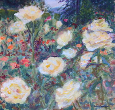 Painting - Sunny Day At The Rose Garden by Quin Sweetman