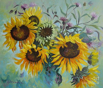 Thistle Painting - Sunny Day by Elena Oleniuc