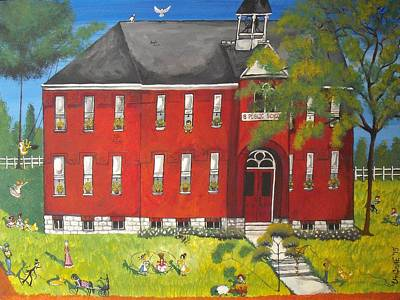 Brick Schools Painting - Sunny-day Recess At Westport Public School by Christine Janeway