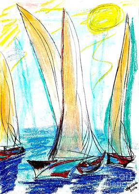 Bob Ross Drawing - Sunny Day Sailing by Scott D Van Osdol