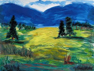Primitive Drawing - Sunny Field by Mary Carol Williams